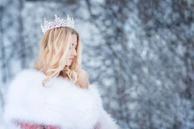 Snowy Queen, princess with crown. Fairy tale