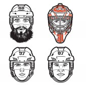 Photo Funny Vector line illustrations of  4 pro hockey players