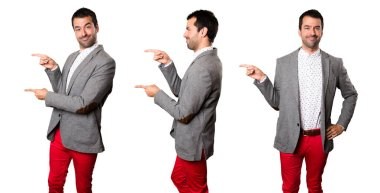 Set of Handsome man pointing to the lateral