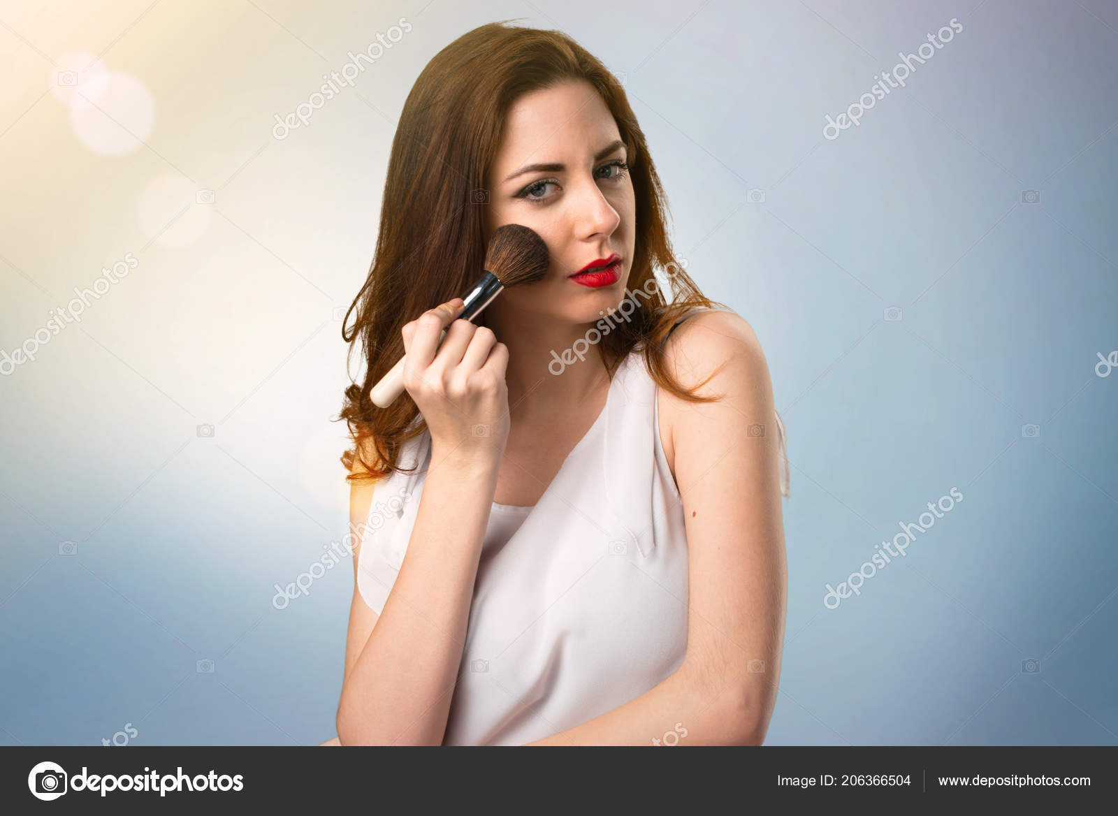 Beautiful Young Girl Makeup Brush Blue Abstract Background