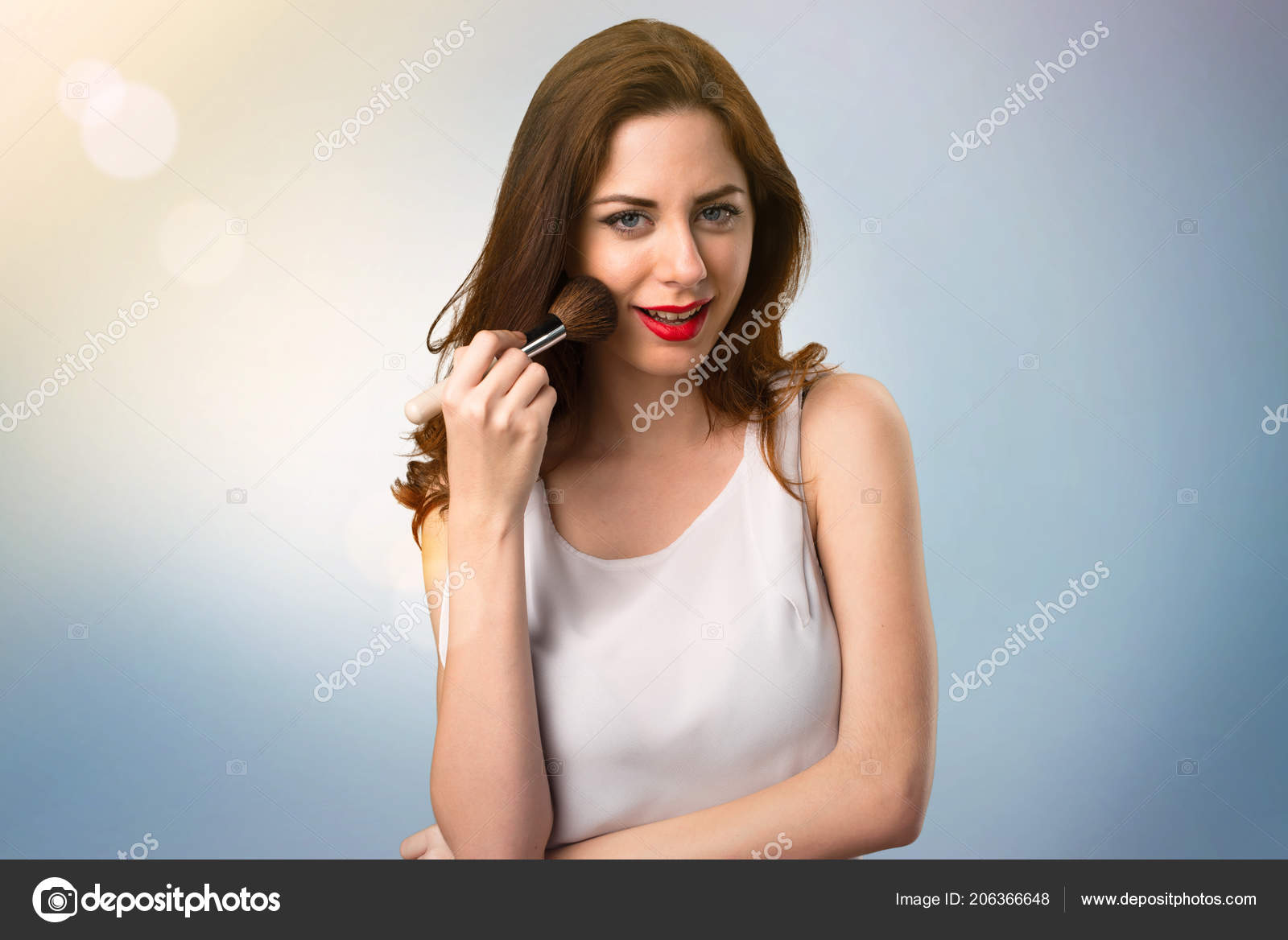 Happy Beautiful Young Girl Makeup Brush Blue Abstract