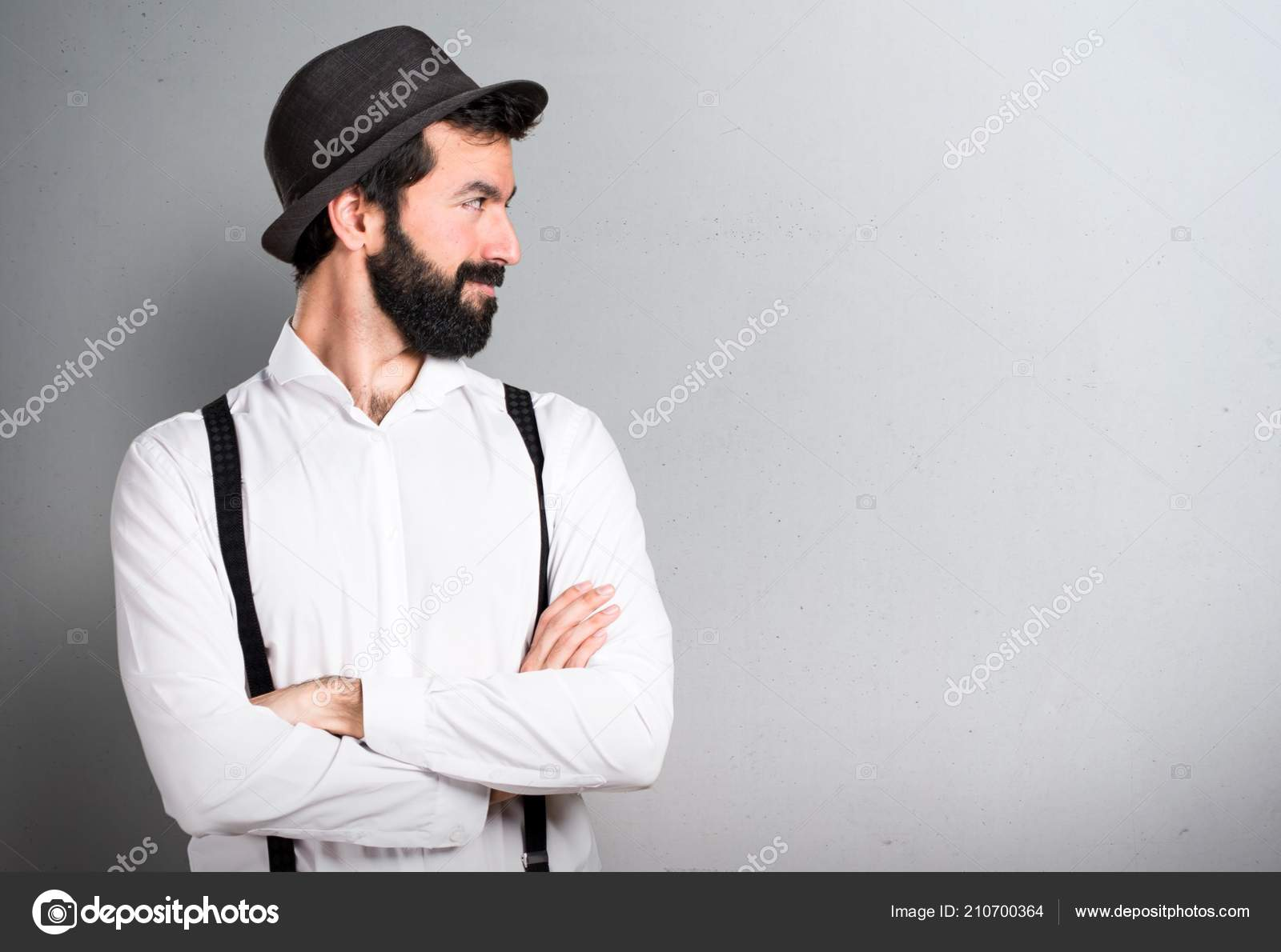 Hipster Man Beard Looking Lateral Grey Background — Stock