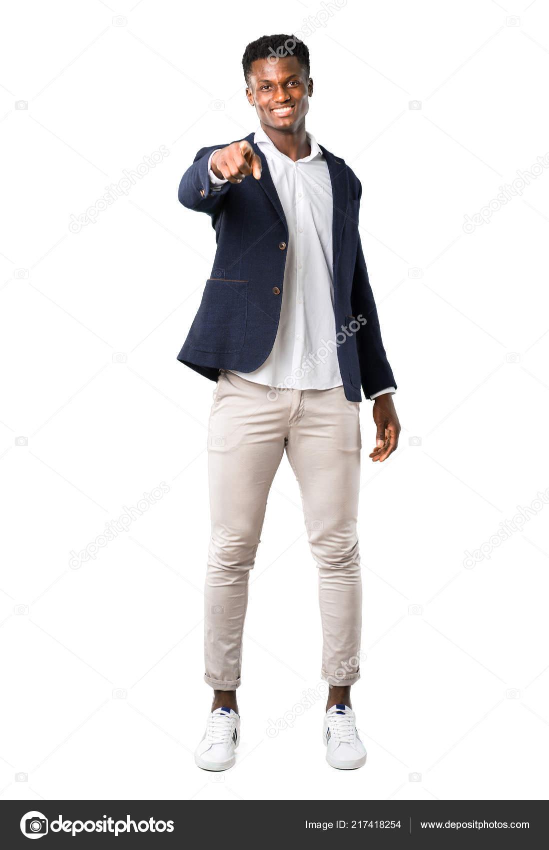 Ganzkörper Von Schöner Afroamerikanische Mann Trägt Eine