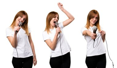Set of Beautiful young girl singing with microphone