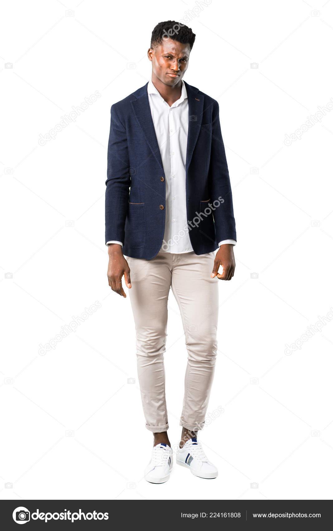 Ganzkörper Von Schöner Afroamerikanische Mann Trug Eine