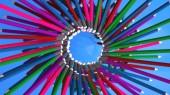 prostorové vykreslení pozadí s tužkami různých barev