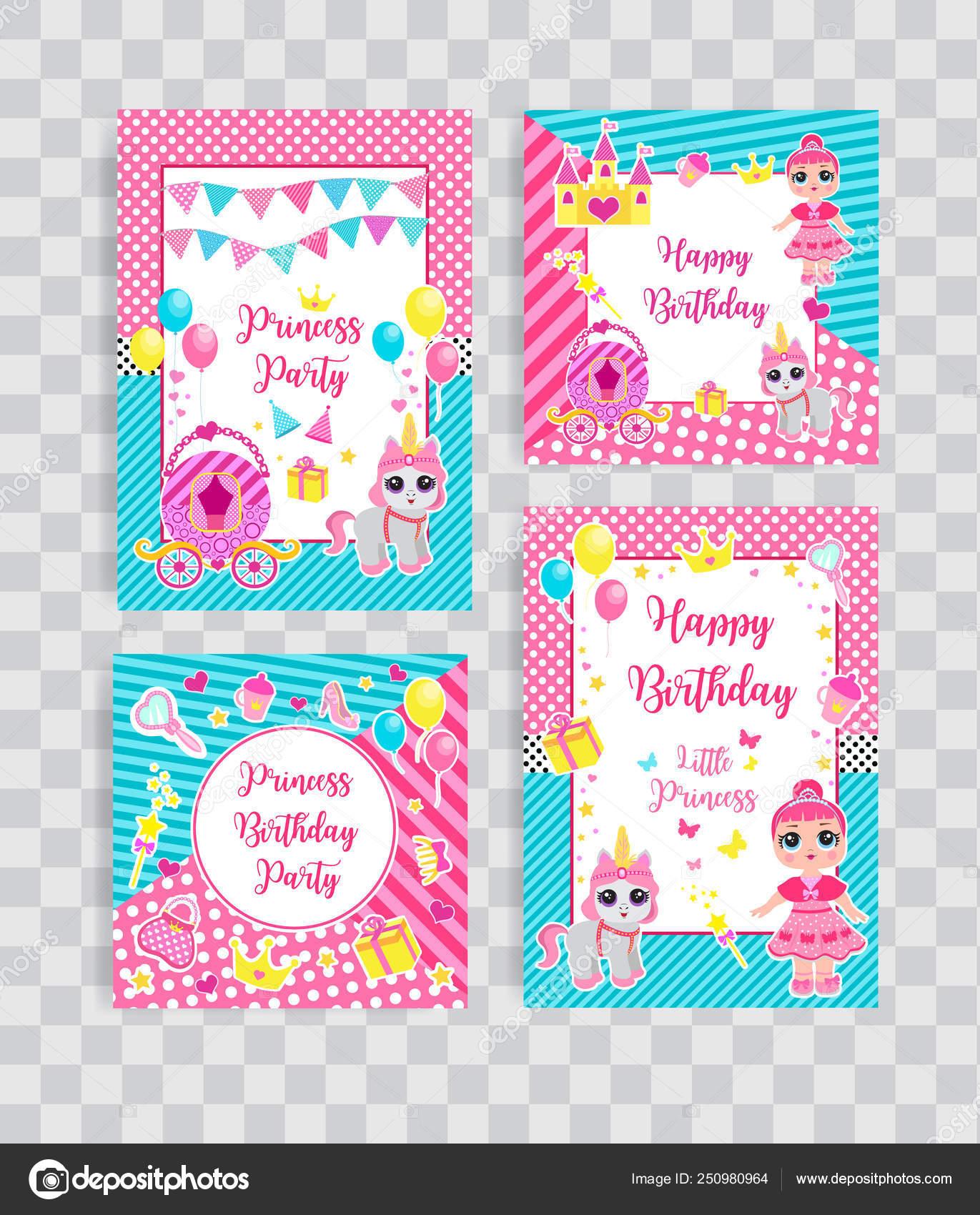 Feliz Aniversário Conjunto Cartões De Saudação Ou Convite