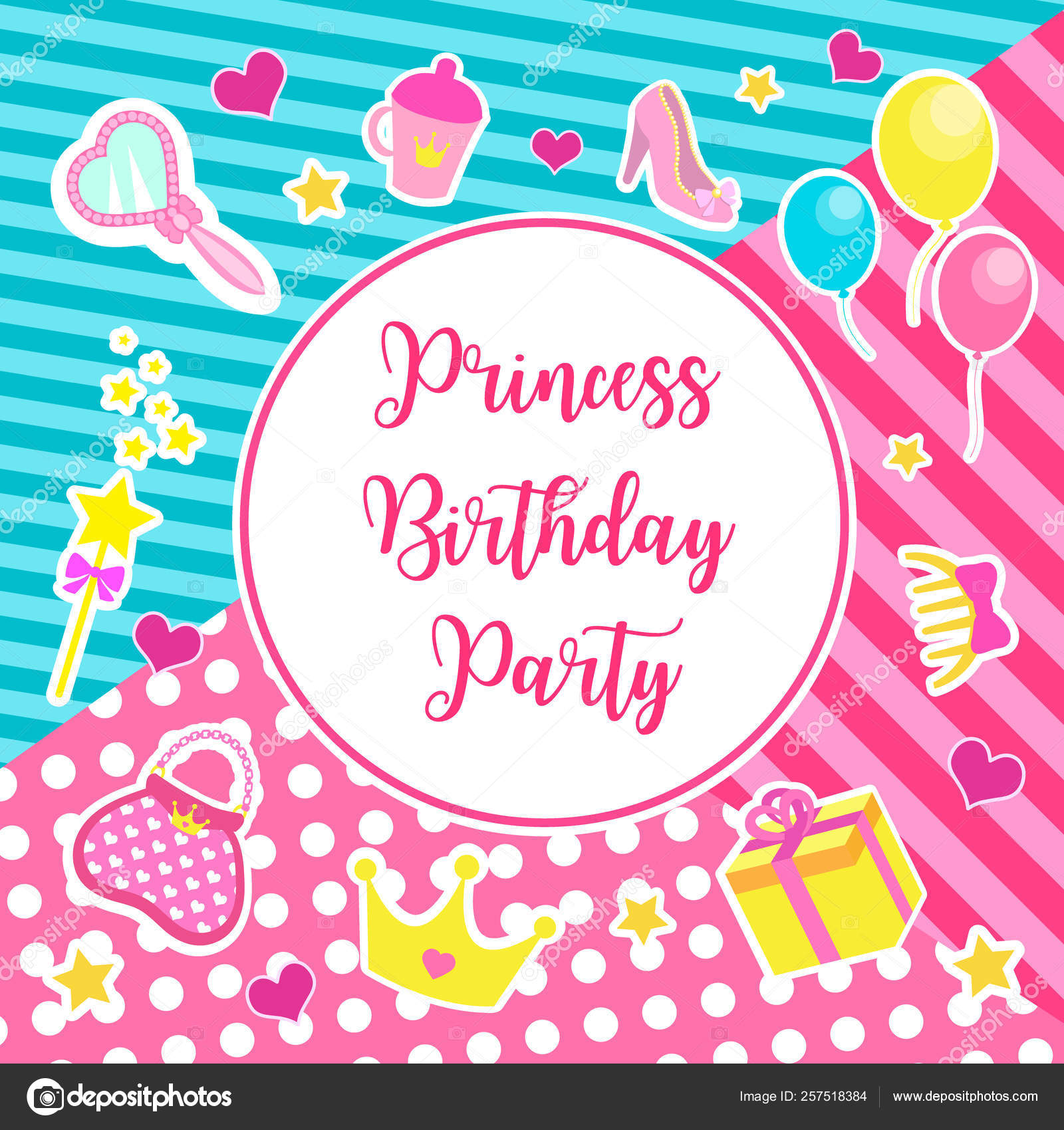 Happy birthday set greeting or invitation cards for a little