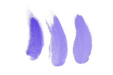 Smear and texture of lipstick or acrylic paint isolated on white background. Stroke of lipgloss or liquid nail polish swatch smudge sample. Element for beauty cosmetic design. Violet color