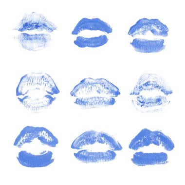 Female lips lipstick kiss print set for valentine day isolated on white. Blue color