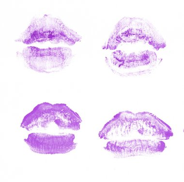 Female lips lipstick kiss print set for valentine day isolated on white. Purple color