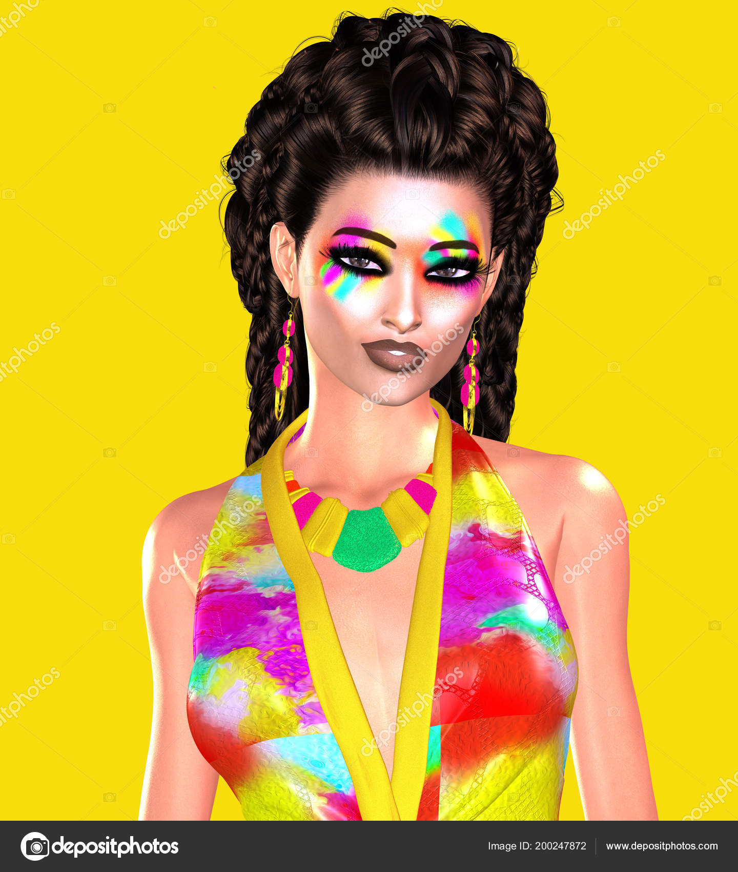 Trendy Fashion clothing and hairstyle scene with bold colors. Woman wearing  a sexy floral top against a bright yellow colored background.
