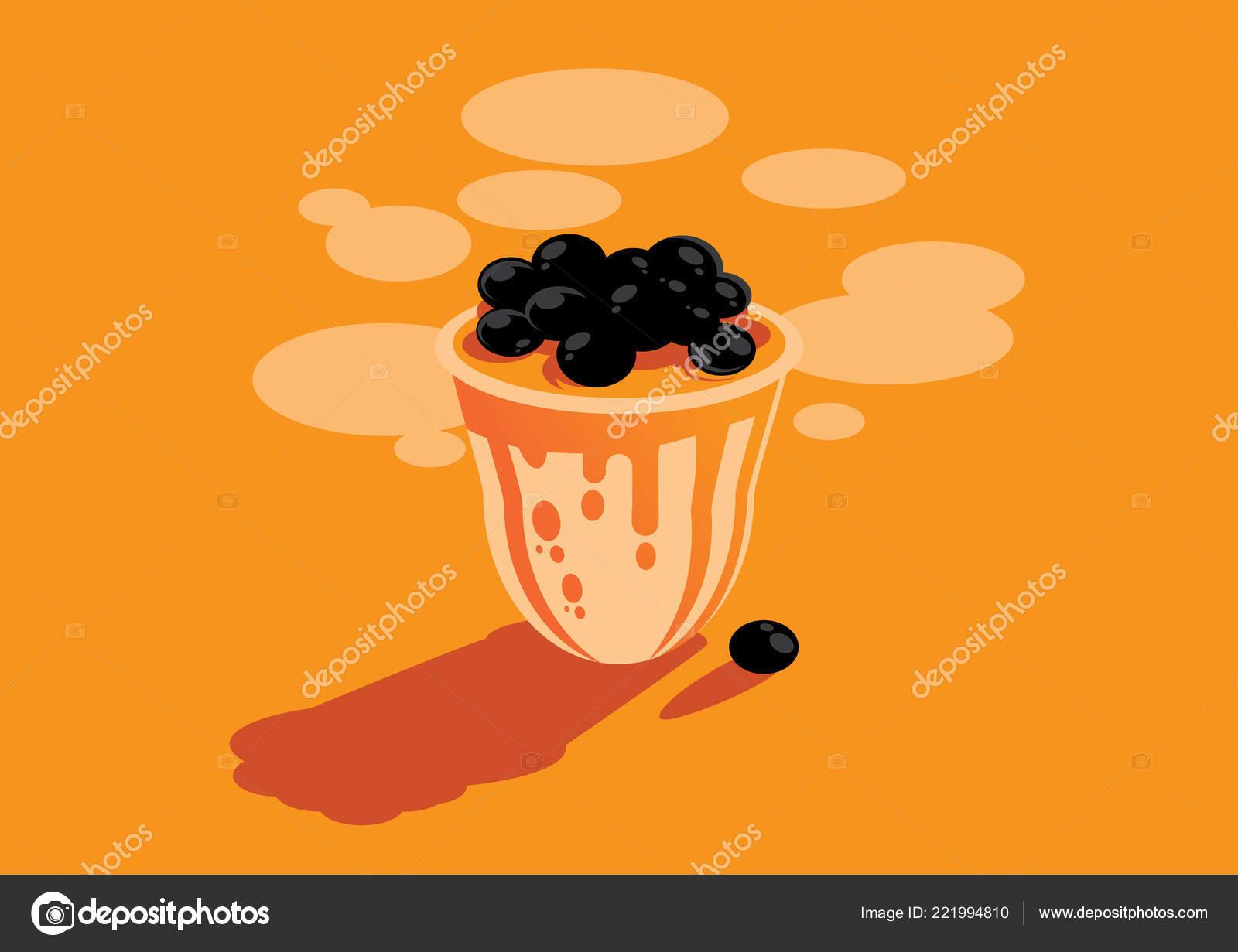 オレンジ色の台湾泡ミルク ティー背景イラスト ストックベクター