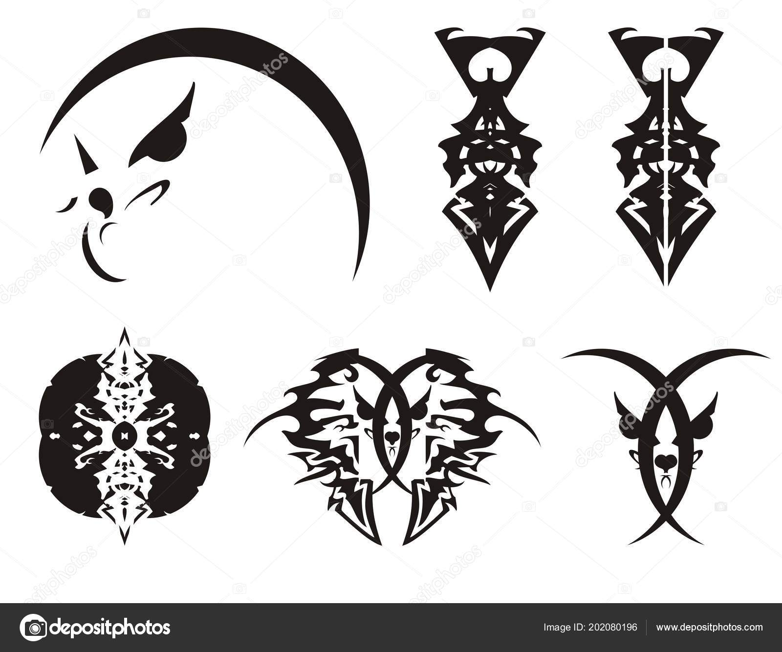 peaked abstract eagle head head cat swords tribal symbols set