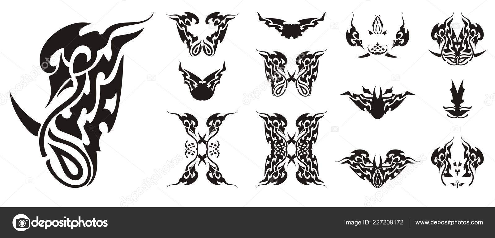 56150c450 Ornate Flaming Bird Symbol Butterflies Wings Abstract Twirled Tribal  Butterfly — Stock Vector