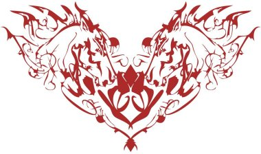 Linear horse heart on a white backdrop. An abstract elegant symbol of the red heart formed by the heads of horses for holidays and events, prints, textiles, wallpapers, etc.