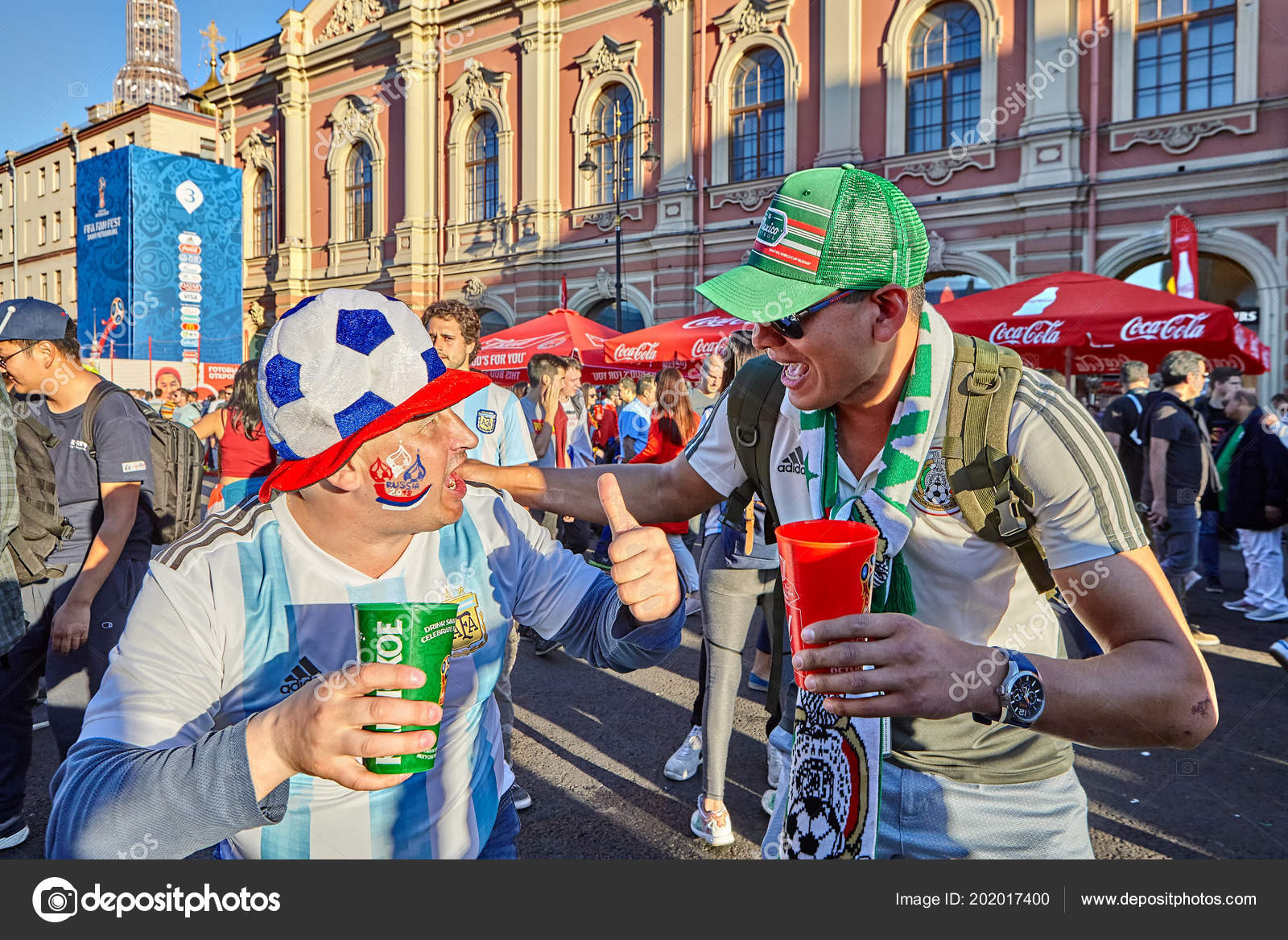 Petersburg russia june 2018 russian mexican soccer fans greet each petersburg russia june 2018 russian mexican soccer fans greet each stock photo m4hsunfo