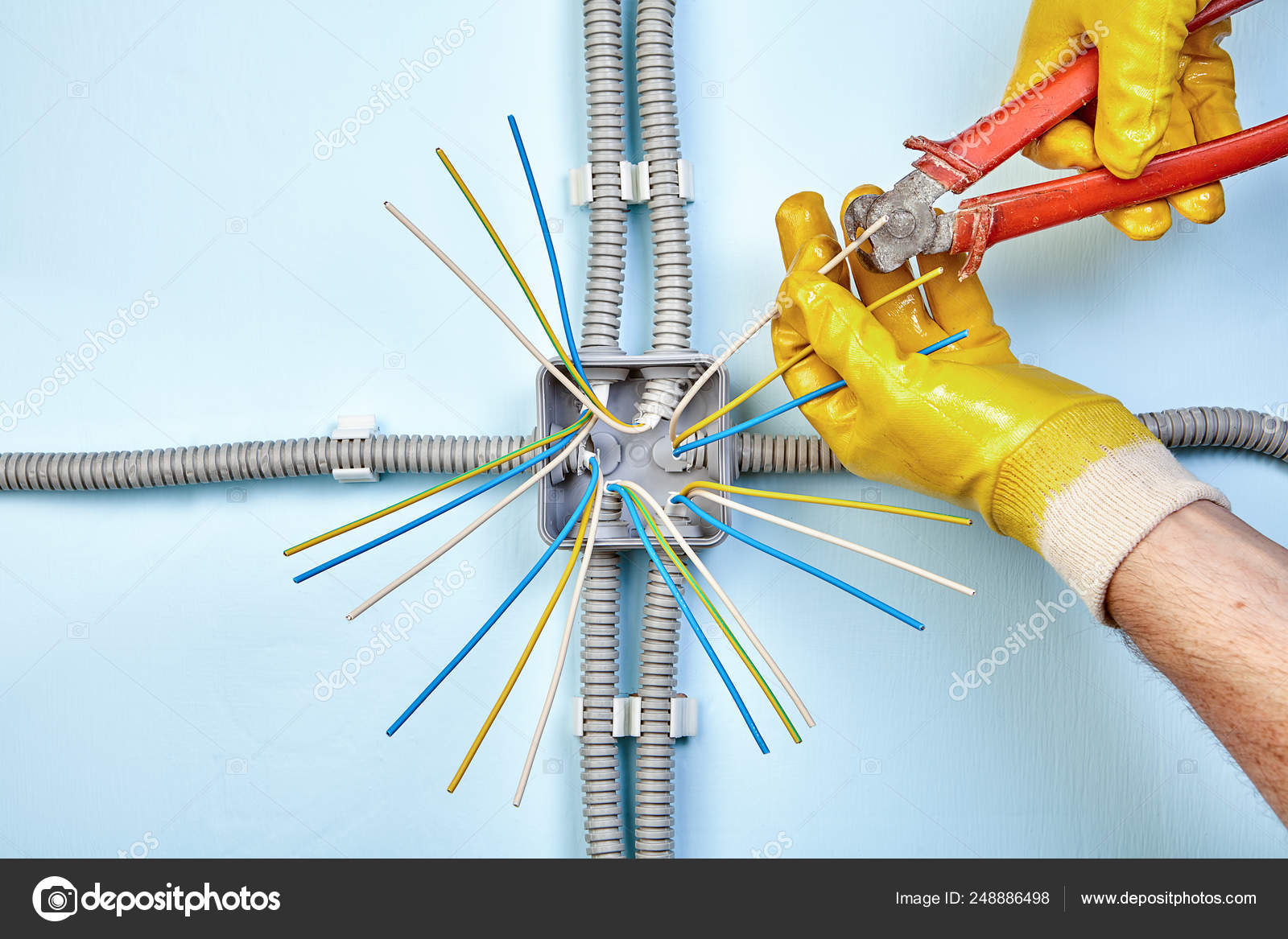 Mounting of electrical junction box. — Stock Photo ... on