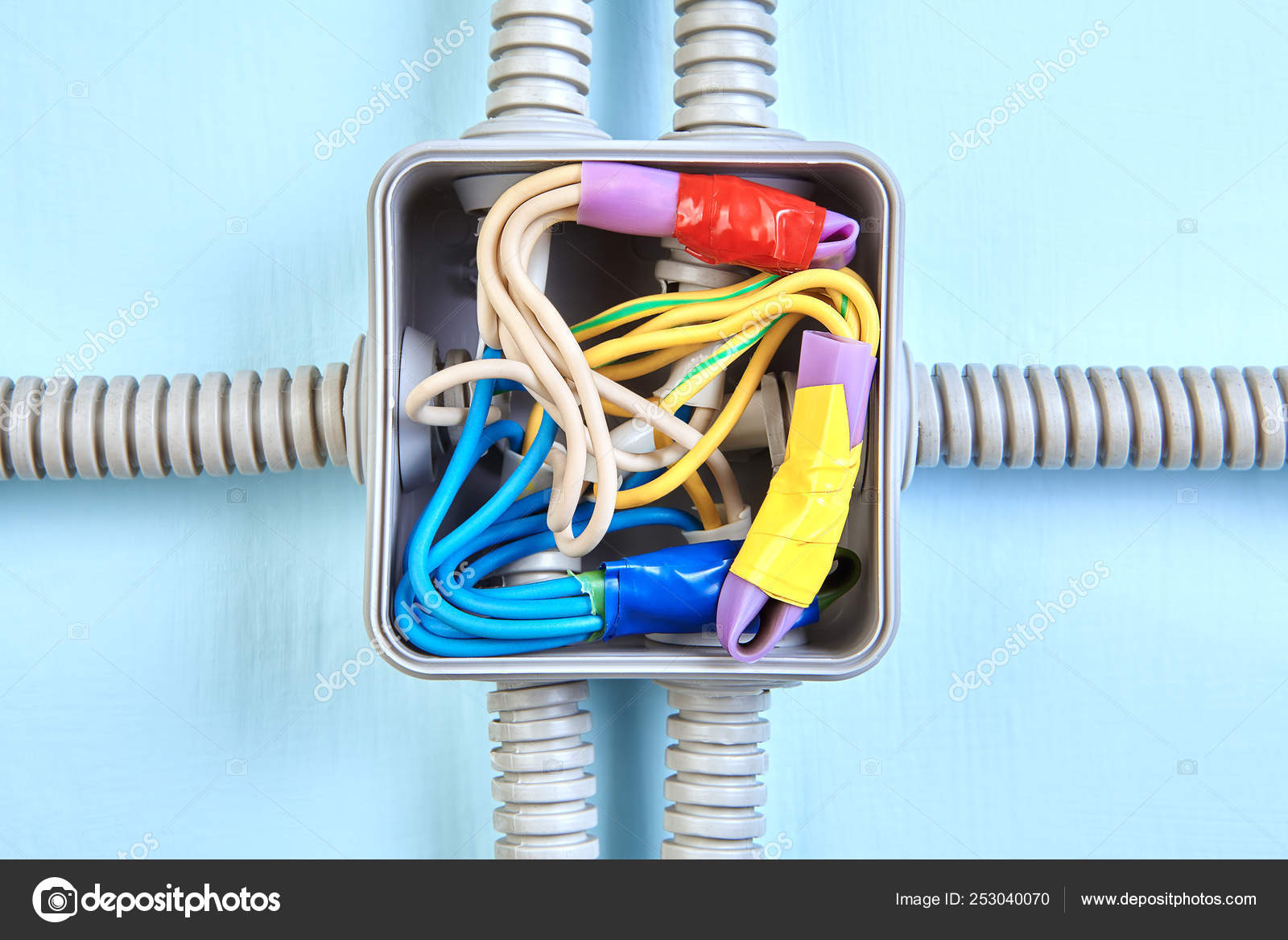 Electrical wiring junction box, close-up. — Stock Photo ... on