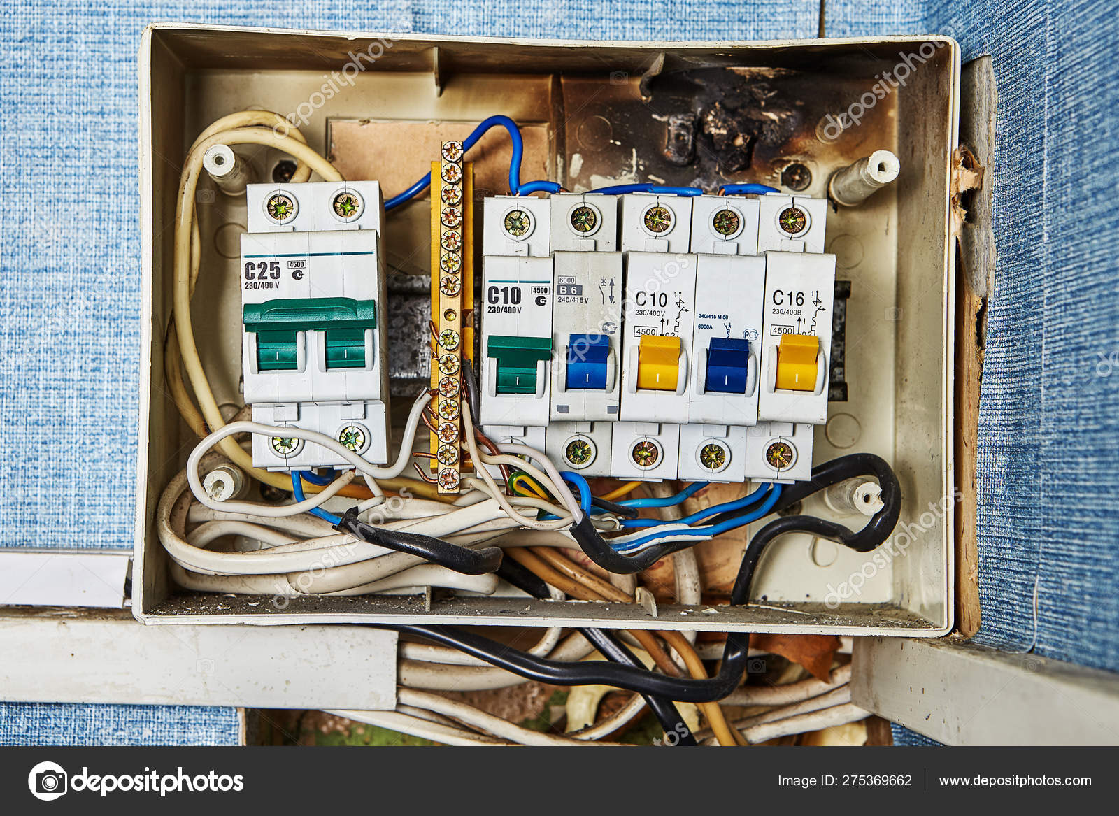 Burned out old home fuse box parts. – Stock Editorial Photo ... on old home antenna, old home generator, old home gas tank, old home front door,