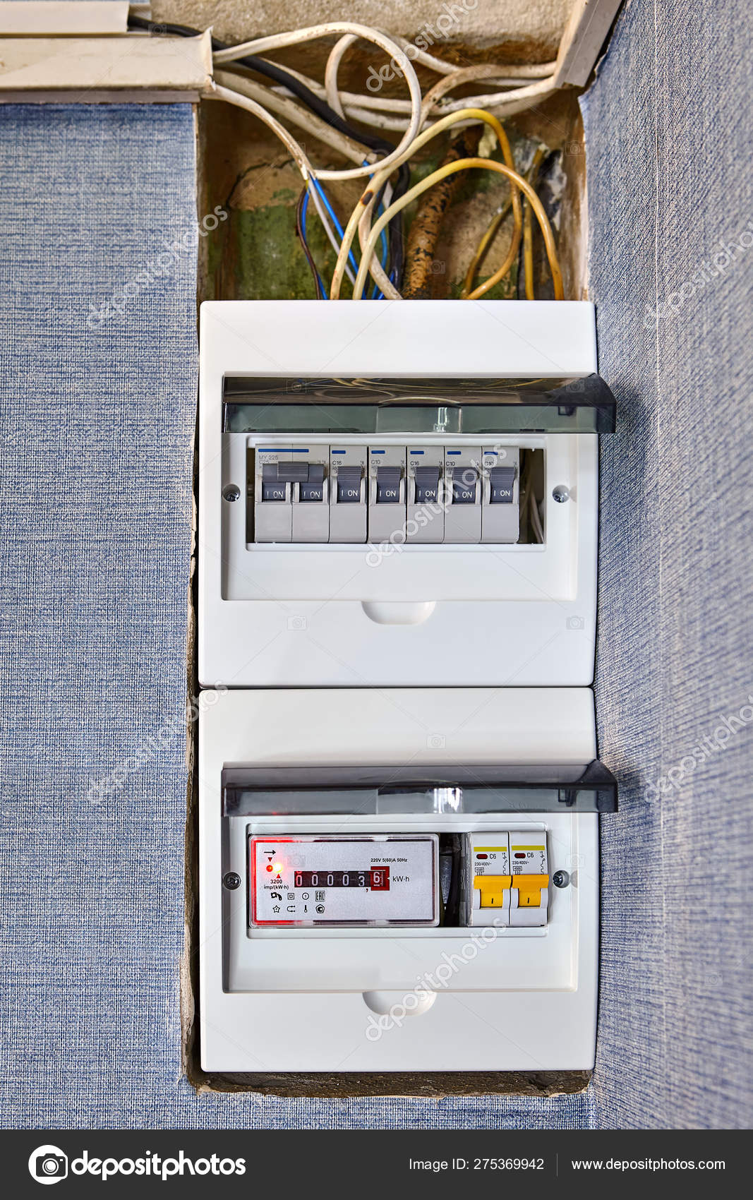 Residential circuit breaker box of home electricity. – Stock ... on