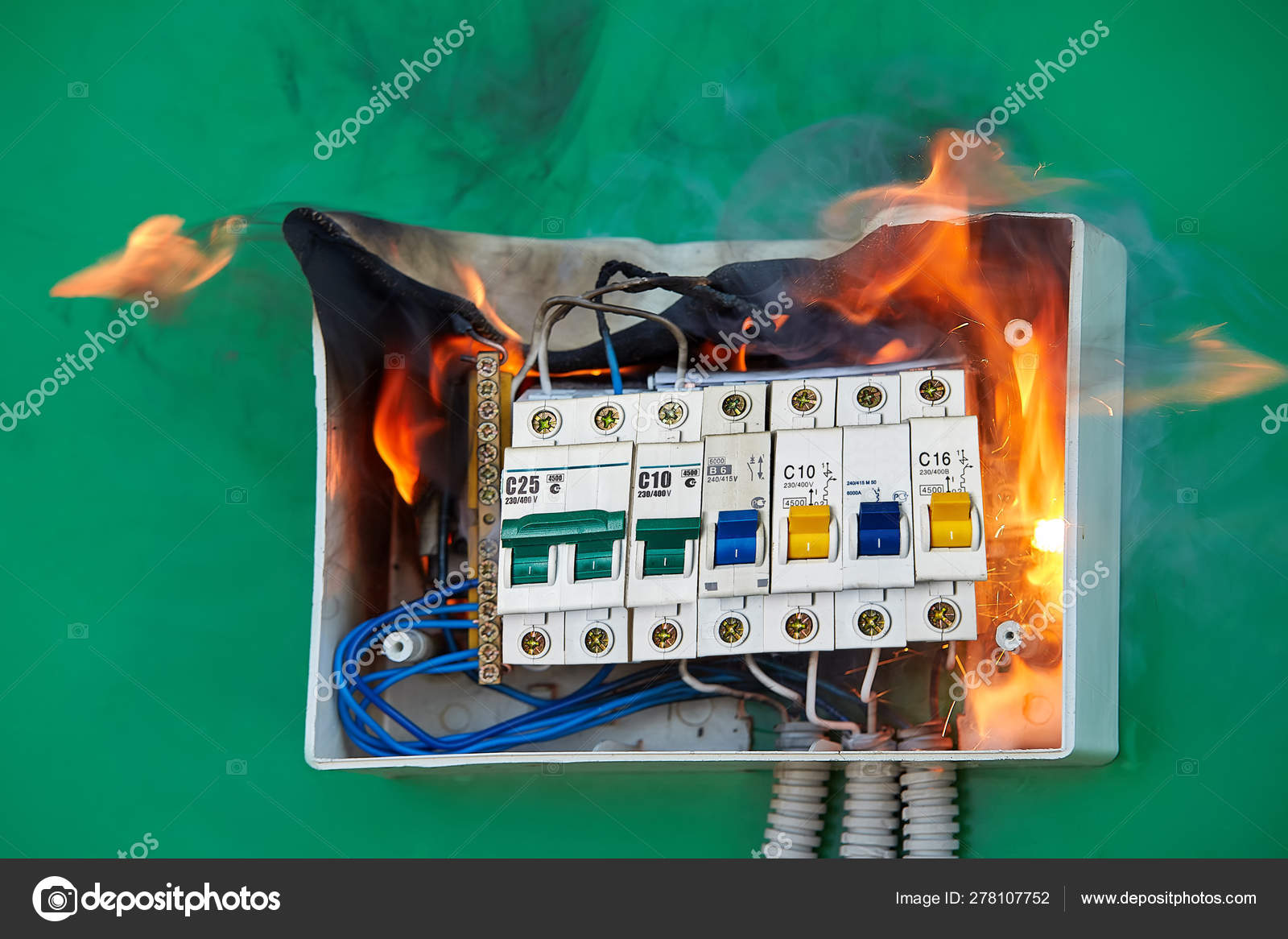 home fuse box wiring bad electrical wiring caused fire in fuse box     stock photo  bad electrical wiring caused fire in