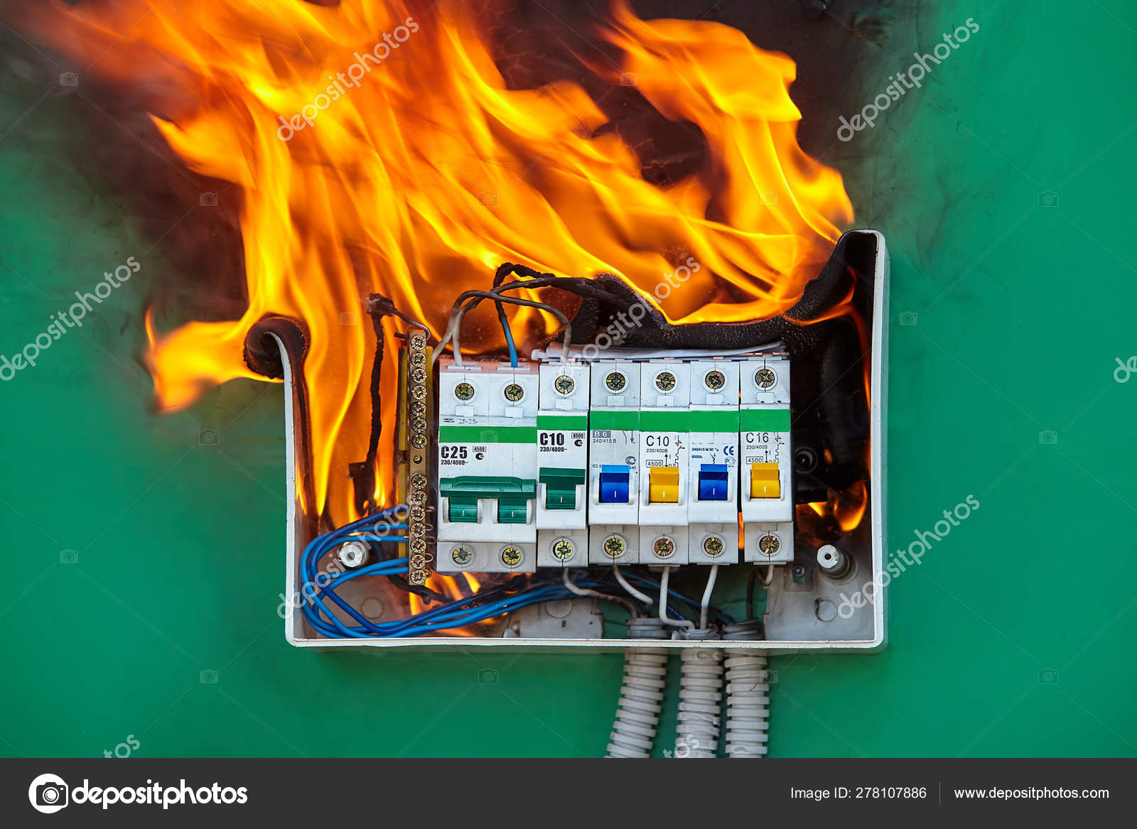 problem with electrical wiring caused a fire \u2014 stock photo electrical shock electricity short circuit stock photo