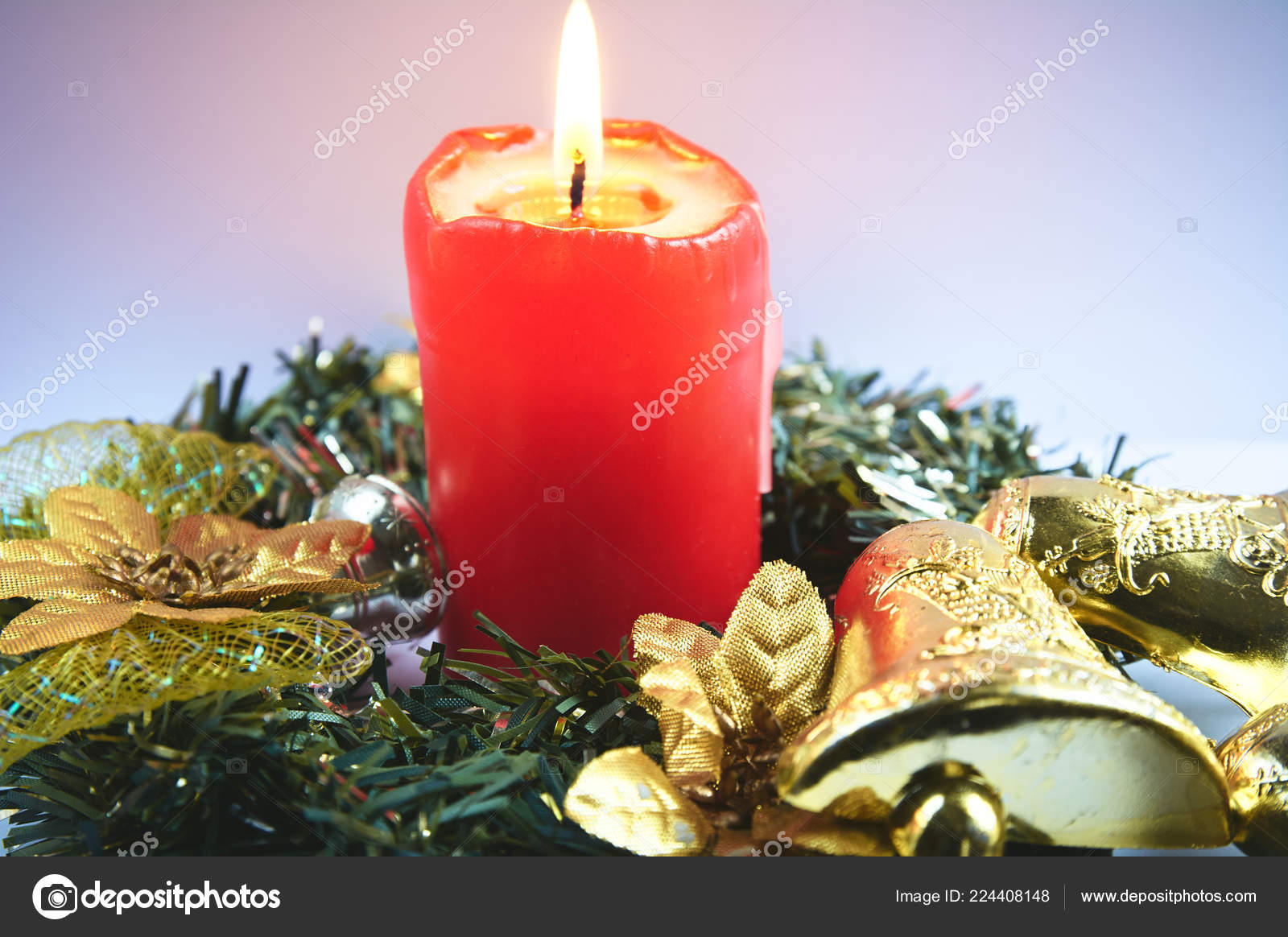 red christmas candle festive decorations christmas wreath burning candle stock photo