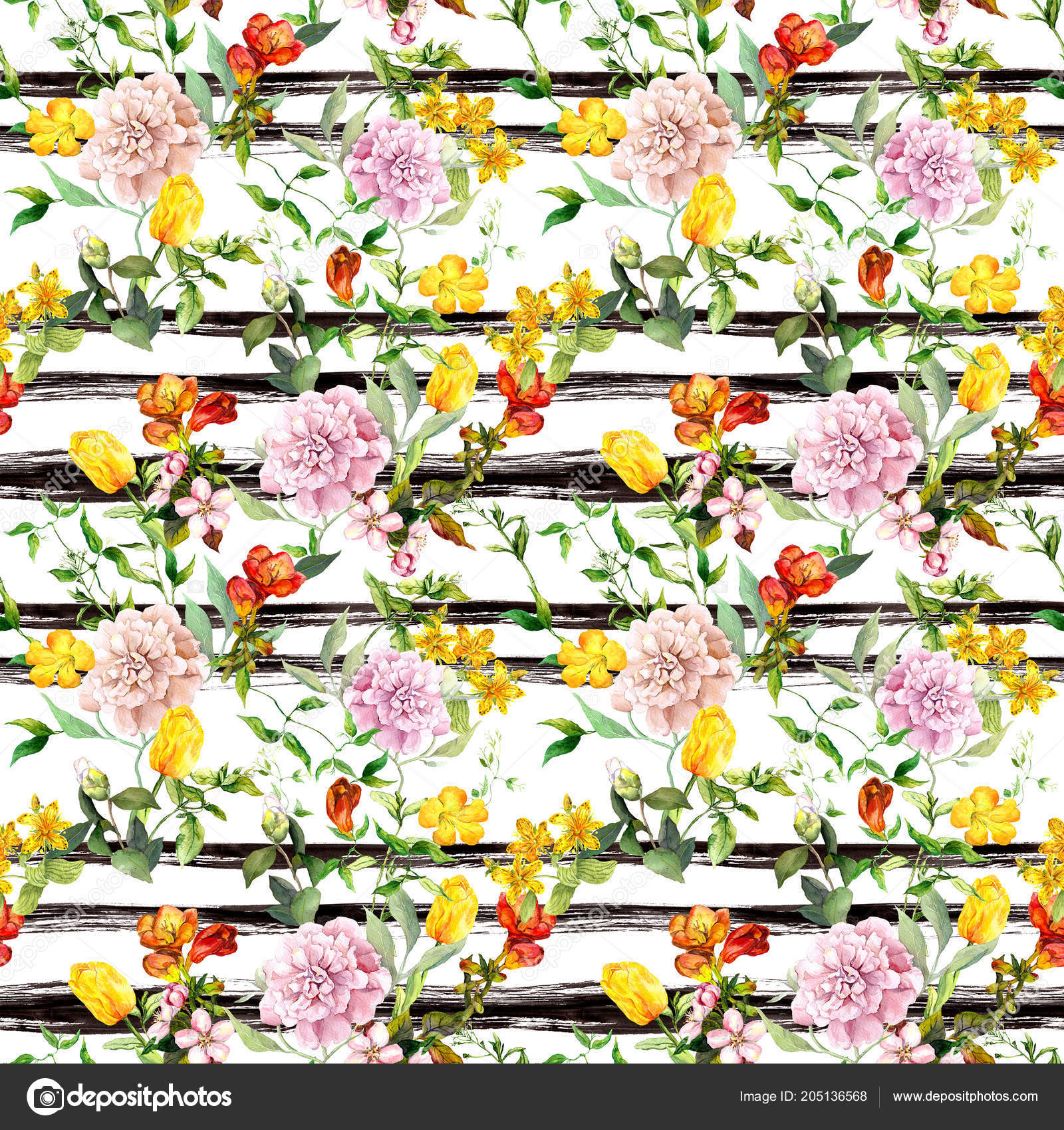 Flowers At Black White Striped Background Repeating Floral