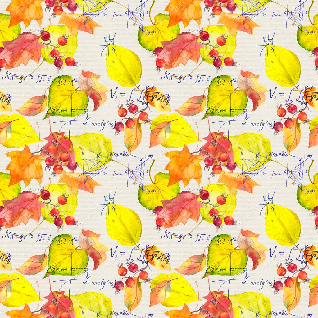 Science design - mathematical text and yellow autumn leaves. Seamless education pattern. Handwritten text, watercolor