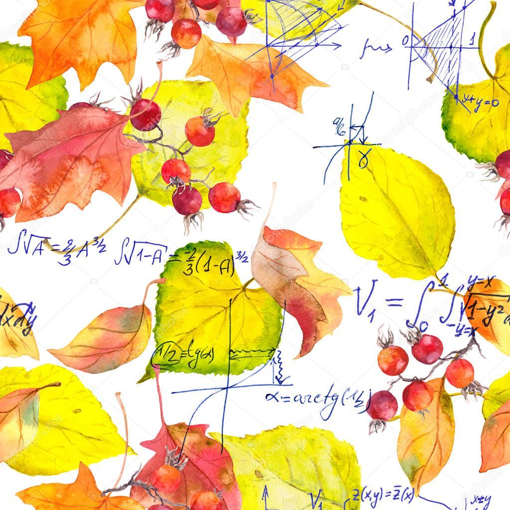 School design - mathematical notes and yellow autumn leaves. Seamless education pattern. Hand written text, watercolor