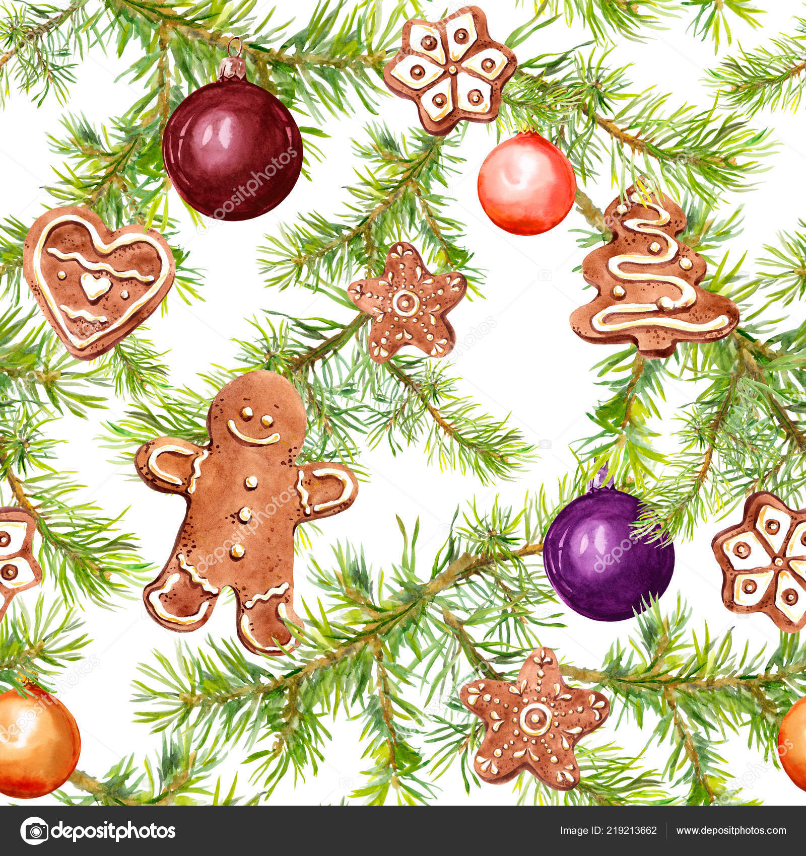 Christmas Baubles Gingerbread Conifer Tree Branches Seamless Pattern For Christmas Design Watercolor Stock Photo C Zzzorikk 219213662