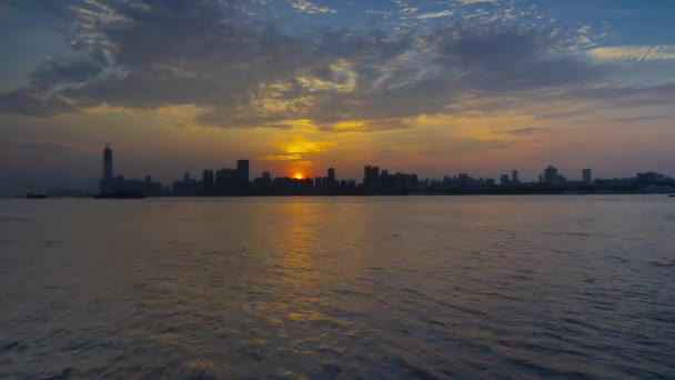Time-lapse footage of city skyline and sunrise in summer, Wuhan, Hubei, China