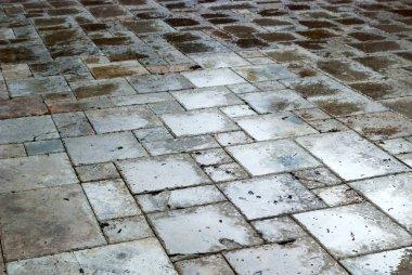 Wet tiles road background