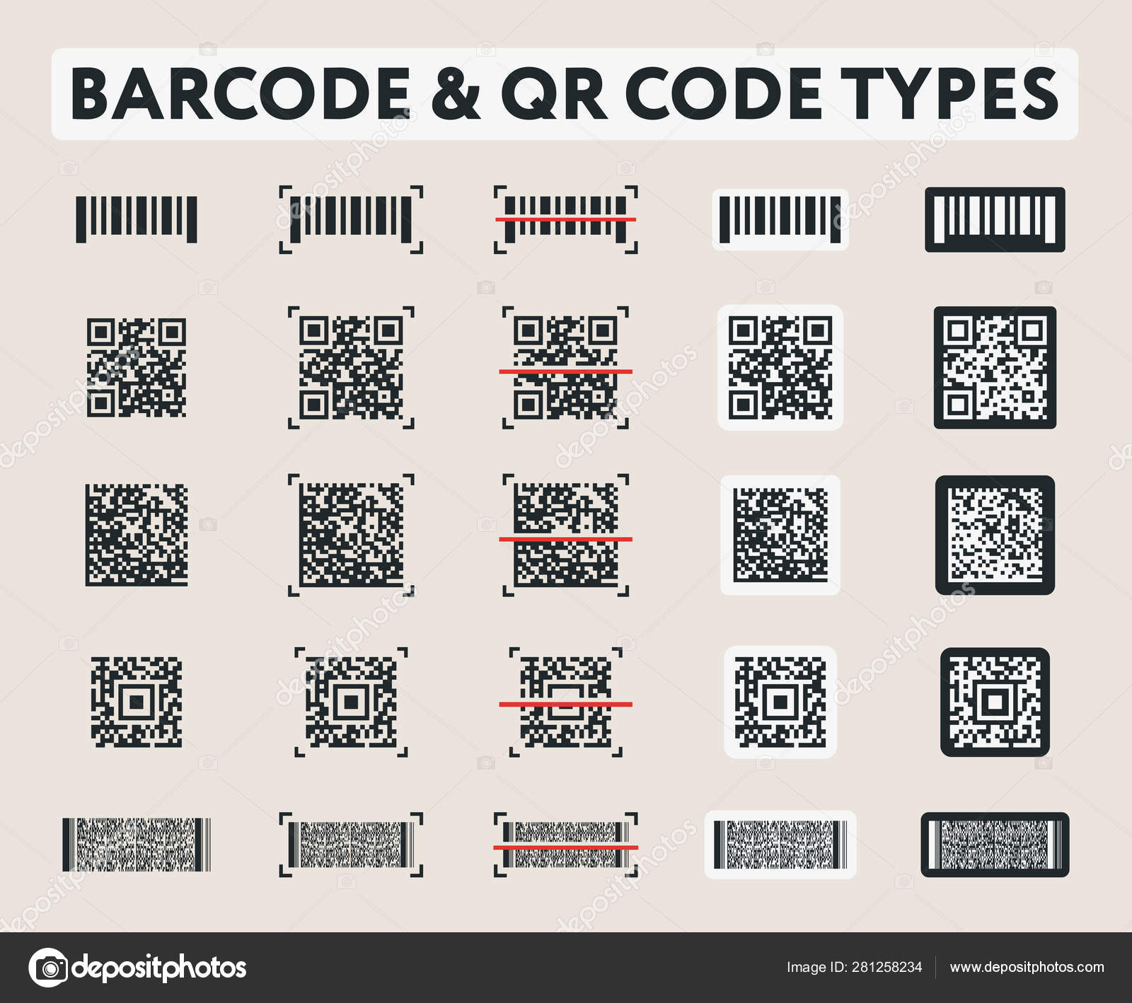 Different Vector Barcode Code Digital Types Label Data