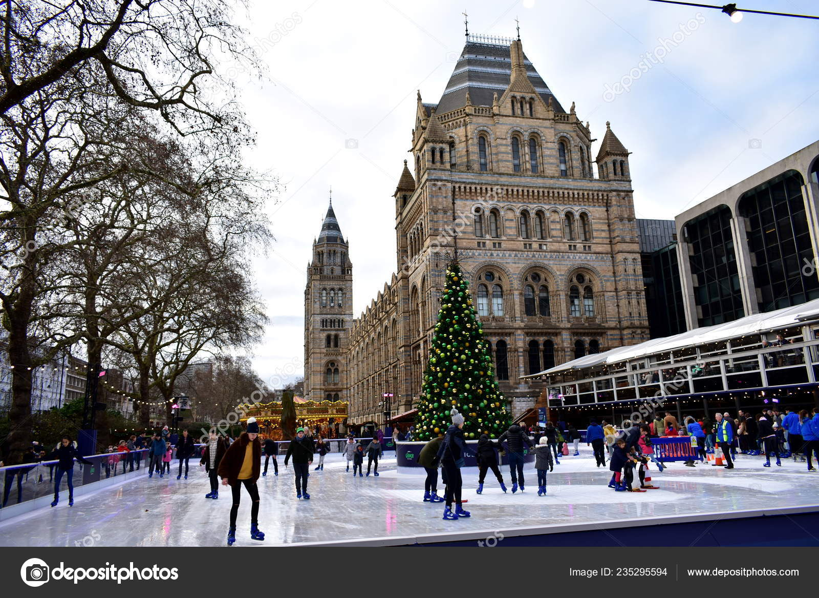 Christmas Ice Skating London.People Skating Ice Natural History Museum Christmas Ice Rink
