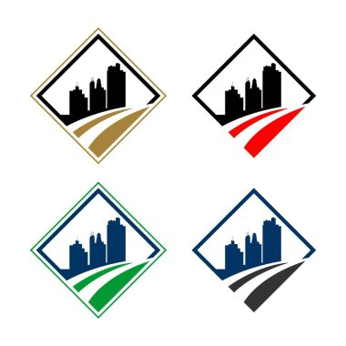 Diamond Shape Skyline Town Logo Template