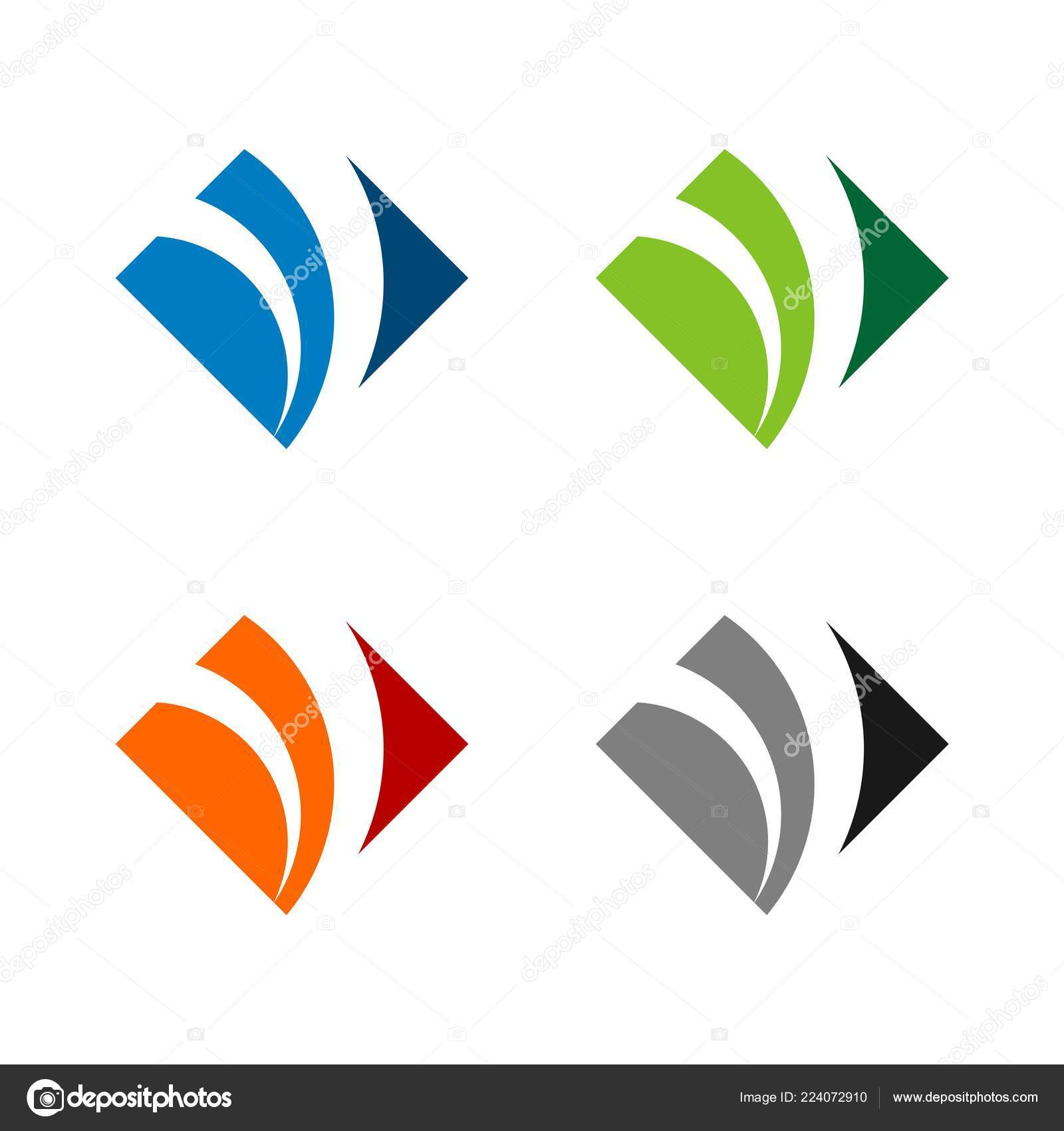 square diamond shape swoosh logo template stock vector soponyono