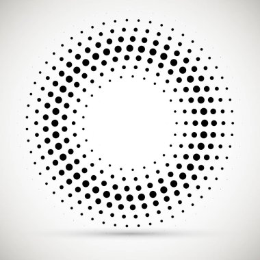 Halftone dotted background circularly distributed. Halftone effect vector pattern.Circle dots isolated on the white background.Border logo icon. Draft emblem for your design.