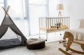 Photo modern interior design of nursery room with bean bag chair