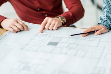 Partial view of couple of architects working on blueprints in office stock vector