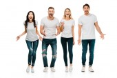 shocked young people screaming and looking at camera isolated on white