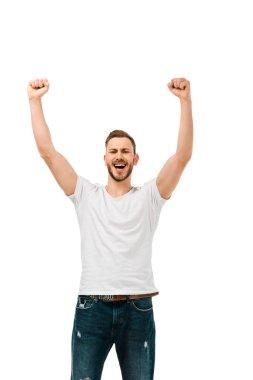 Handsome happy man raising hands and shaking fists isolated on white stock vector