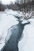 cold mountain creek in snowy forest in carpathians