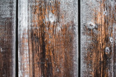 close up of textured brown frosty wooden planks