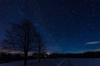 Dark sky full of shiny stars in carpathian mountains in winter at night stock vector