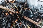 pohled shora konvice s kouře na oheň v zimě lese