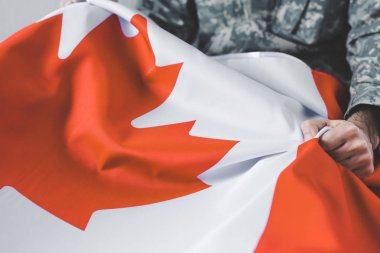 Selective focus of man in military uniform holding canada national flag stock vector