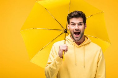Handsome excited man holding umbrella isolated on yellow stock vector