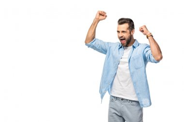 Excited man cheering with clenched fists Isolated On White stock vector